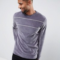ASOS Velour Sweat With Piping at asos.com