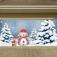 Christmas Garage Door Cover Banners 3d Snowman Holiday Outside Decorations Outdoor Decor for Garage Door G34