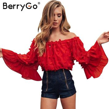 BerryGo Off shoulder flare sleeve summer blouse shirt Women sexy hollow out chiffon blouse Elastic casual streetwear blusas tops