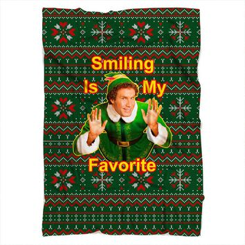 Smiling Is My Favorite Elf Blanket