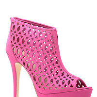 Play Time Magenta Peep Toe Booties