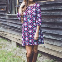 Abstract Diamond Dress in Multi