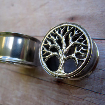 "Pair of Antique Silver Tree Plugs - 5/8"" & 3/4"" (16mm, 19mm) - Boho - Bohemian - Handmade Gauges - Tunnels"