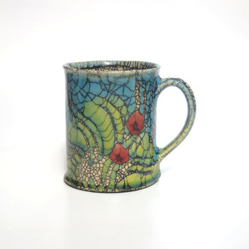 Handmade ceramic Summer Garden mug/Crackle glaze/Rupert Andrews mug/ Ceramic cup/Art mug/Unique glaze/Abstract art mug/Tea mug/Coffee mug