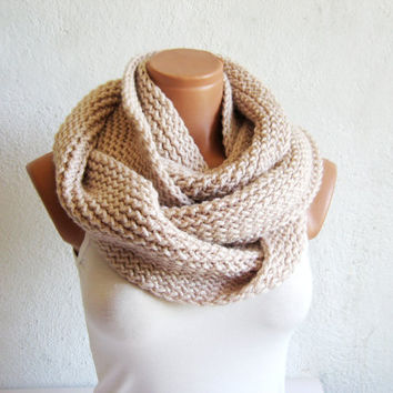 Knitted infinity Scarf. Block Infinity Scarf. Loop Scarf, Circle Scarf, Neck Warmer. Vanilla Crochet Infinity
