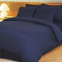1000TC Egyptian Cotton Navy Blue Stripe Duvet Quilt Cover Set 3pc - Available in All Size