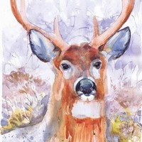 Deer, painting , watercolor , art print, A4