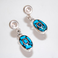 Taxco Mosaic Sterling Turquoise Onyx Earrings Vintage Handmade Southwestern Silver Jewelry Tribal Boho Accessories Gift for Her 1980s