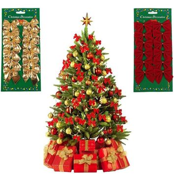 12Pcs/Set Lovely Bow Christmas Tree Decoration DIY Christmas Ornament Bowknot Baubles For Festival Party Home Wedding Decor
