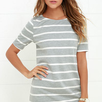 Lines of Symmetry Ivory and Grey Striped Dress