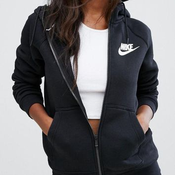 DCCKBA7 Nike Women's Zip-Up Hoodie Black Jacket