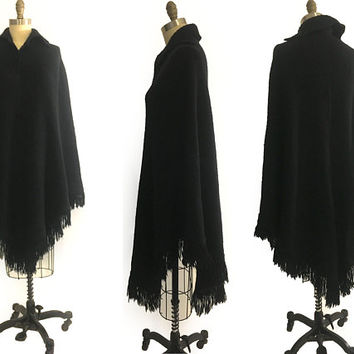 Vintage 70s  Boho Extra Long Black wool knit Cape Poncho sweater