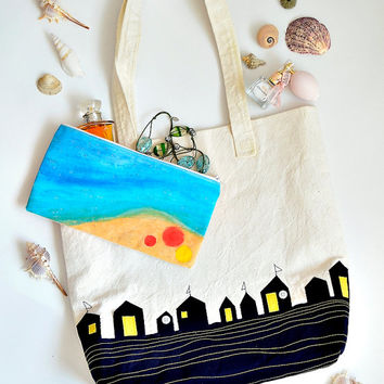 Beach huts applique tote bag, Hand painted pouch, Nautical shoulder bag, Handmade shoulder bag, Carry all bag, Library bag, Summer bag