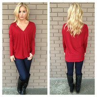 Crimson Red Thats A Wrap Long Sleeve Top