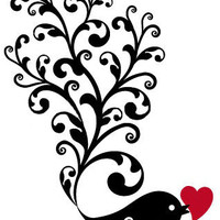 Bird Holding Heart Silhouette Cross Stitch Pattern | Los Angeles Needlework