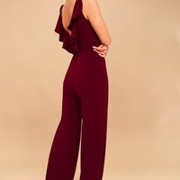 Enamored Burgundy Backless Jumpsuit