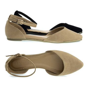 Confess01 Natural By Bamboo, Gold Trimmed Outsole Flat w Double Open Shank D'Orsay & Ankle Strap