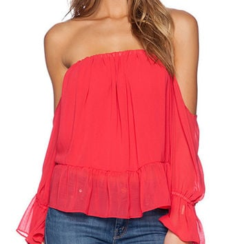 Omnia Off The Shoulder Backless Ruffle Top