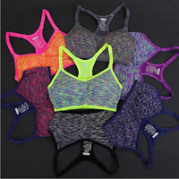 Adjustable Spaghetti Straps Women Sports Bra Shakeproof Stretch Athletic brassiere Push Up Bras Top Seamless Padded Running Vest