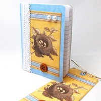 Mini Journal - Mini Journal with Matching Tag - Blue and Yellow Journal - Bird Nest - Vintage Look - Shabby Chic Style - Mini Notebook