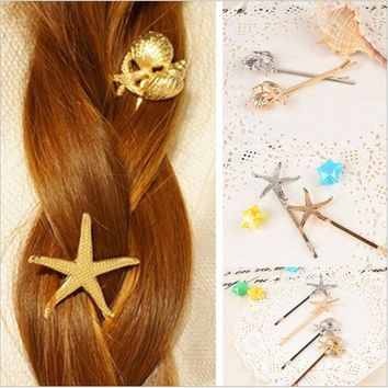 Summer Style Girl Star Hairgrip Women Conch Barrette Pins Clip Gold Silver Hairpin Kid Gift Fashion Sea Jewelry Hair Accessories