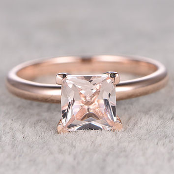 6.5mm Princess Morganite Engagement ring Rose gold,Solitaire wedding band,14k,Pink Gemstone Promise Ring,Bridal Ring,Claw Prong,fine design