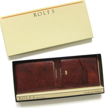 Vintage cowhide Rolfs Billfold / men's dark Brown leather wallet in Original Box