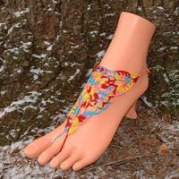 Crochet Barefoot Sandals, Foot Jewelry, Anklet, Toe Ring, Thongs, Yoga, Toe Loop, Barefoot Jewelry, Barefoot Sandles
