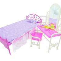Free Shipping Doll Bed Furniture girls birthday gift dressing table accessories  for barbie doll Baby Toys