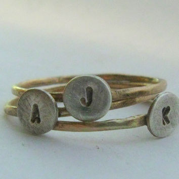 Solid gold and sterling initial rings
