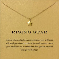 Womens 14k Gold Dipped Lucky Star Dainty Necklace