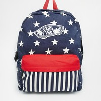 Vans Realm Backpack in Stars and Stripes Print