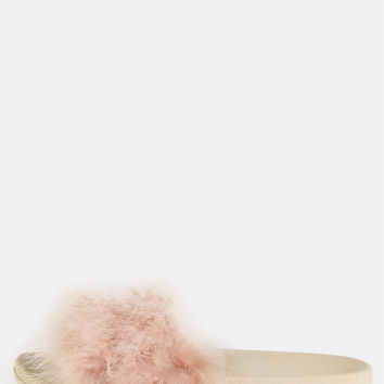 Pastel Open Toe Feather Slides NUDE | MakeMeChic.COM