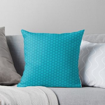 'Abstract Turquoise Pattern 11' Throw Pillow by ADCreations