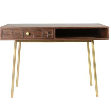 Obra Mid-Century Modern Desk Dark Brown / Gold Legs