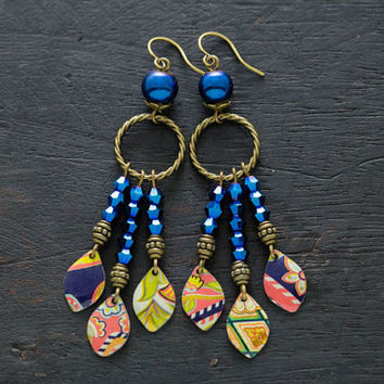 Colorful Dreamcatcher Inspired Earrings with Mismatched Vintage Tin, Chandelier Earrings, Drop Earrings, Beaded Boho Earrings