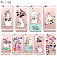 Cute Rainbow Unicorn Cases for iPhone 6 6s 5 5s SE 7/7Plus Transparent Portuguese Design Soft Silicone Case Capa