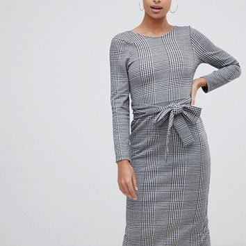 ASOS DESIGN check midi dress with self wrap belt at asos.com