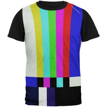 DCCKU3R Halloween SMPTE Color Bars Late Night TV Costume All Over Mens Black Back T Shirt