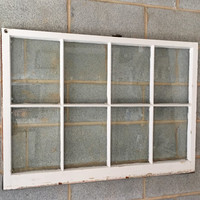 """Vintage 8 Pane Window Frame - 40W"""" x 28L"""", White, Rustic, Antique, Wedding, Beach Decor, Photos, Pictures, Engagement, Holiday, Business"""