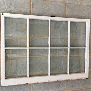 "Vintage 8 Pane Window Frame - 40W"" x 28L"", White, Rustic, Antique, Wedding, Beach Decor, Photos, Pictures, Engagement, Holiday, Business"