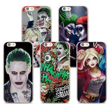MOUGOL joker and harley suicide squad Style Clear hard Phone Case for Apple iPhone 6 6s 6Plus 7 8 8Plus 7Plus X SE 5 5s 4s