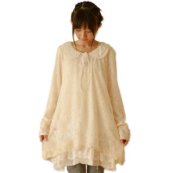 2016 Japanese Kawaii White Lace Dress Mori Girl Peter Pan Collar Long Sleeve Sweet Vintage Gowns Dresses Vestido De Festa C208
