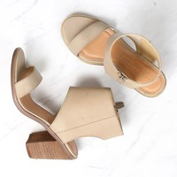 final sale - very volatile - south open toe heeled sandal - taupe