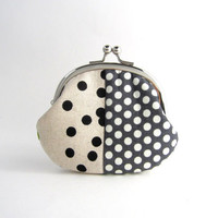 Frame Coin Purse - Black dots patchwork