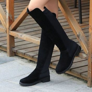 LMFON Winter Shoes Leather Stretch Boots [9432942858]
