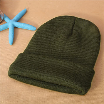 Unisex Warm Winter Knitted Beanie Army Dark Green Cuffed Skully Hat