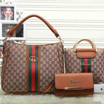 Gucci Women Fashion trending Shopping Bag Leather Tote Handbag Shoulder Bag Three Piece Set G-1
