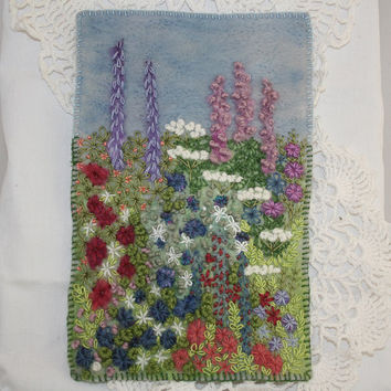 Embroidered and Felted Hanging - Cottage Garden Hand stitched by Lynwoodcrafts