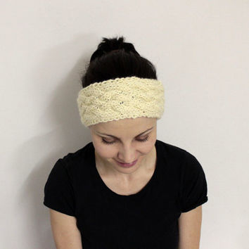 Off White Ear Warmer, Warm Hair Band, Cable Knit Head Band, Wool Winter Headband Ear Warmers, Knit Cream Earwarmer, Wool Womens Headwrap